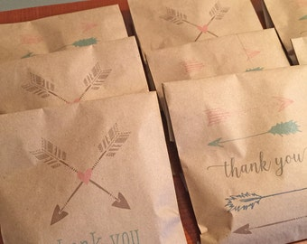 kraft favor bags with tribal arrow design