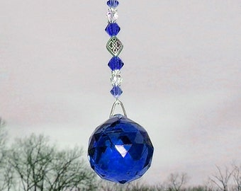 Blue Crystal Sun Catcher, Swarovski Crystal, Hanging Crystal, Blue Sun Catcher, Crystal Ball, Window Ornament, New Home Gift,Garden Ornament