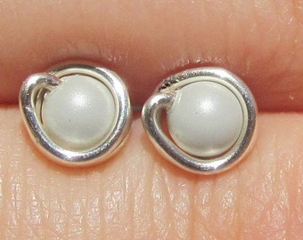Tiny Pastel Grey Pearl Stud Earrings (5mm), Swarovski Pearl Stud Earrings, Wire Wrapped Sterling Silver Stud Earrings, Grey Stud Earrings