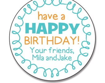 Birthday Gift Stickers, Personalized Happy Birthday Labels, Teal and Orange, Birthday Gift Favors