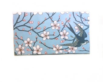 2018 - 2019  mini Planner - Swallows and Almond blossoms blue - pocket planner - two year calendar - chic 2 year monthly planner new year