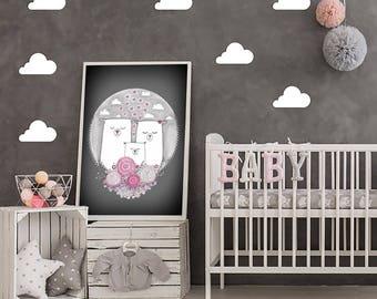 "Original Childrens Drawing. Bear Illudtration - 8.5x12"" up to 24x34"" Nursery Art Print, Kids Room Wall Decor, Illustration"