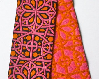 "Woven Ribbon - 1 7/8"" x  30"" (Inches) Black, Pink and Orange"