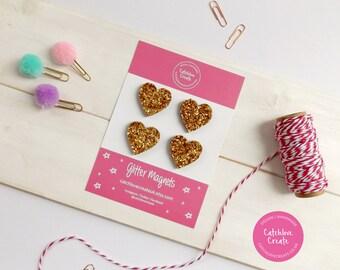 Gold glitter heart magnets. 4 gold glitter magnet set. Heart magnets. Magnet. Magnets. Magnet set. Magnet gift set. Handmade magnets.