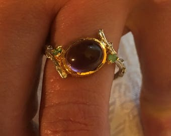 Natural Emerald Amethyst ring in Sterling Silver 925/1000 - size 61/62