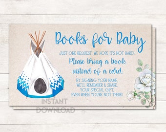 Books for Baby, Bring a Book Card, Teepee Baby Shower, Baby Shower Game, Baby Shower Boy, Native American Baby Shower, Printable No. 2016