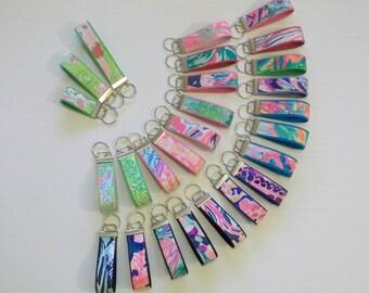 Preppy Colorful Lilly Fabric Key Chain Key Fob 3 Sizes