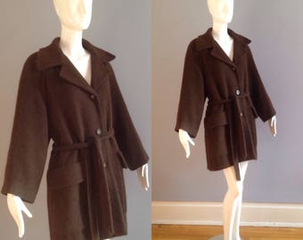 Vintage GUY LAROCHE Paris Alpaca Wool Winter Coat ~Dark Brown Cozy Designer Waist Tie Jacket