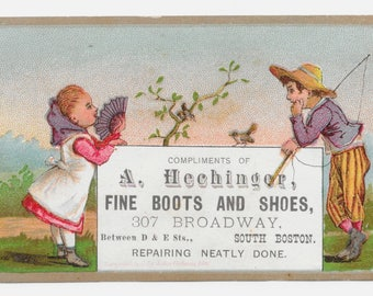 Gone Fishin' Shoes Trade Card, 1881
