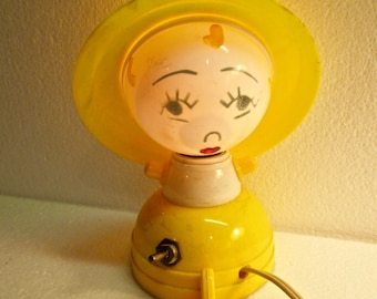 Vintage Plastic Melmac Atomic Night Light Electric Yellow Mid Centry Retro Painted Girls Face Made in USA United Product