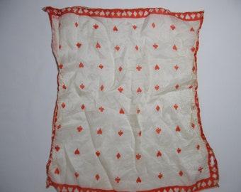 "Vintage SILK SCARF by Vera - Spades Hearts Diamonds Clubs - White Red - 14 1/2"" X 15 1/2""  (16)"