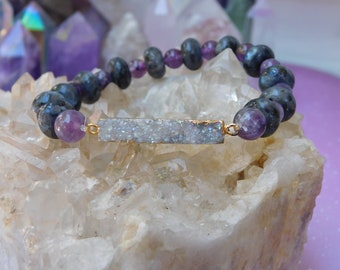 Rainbow Druzy + Amethyst and Labradorite