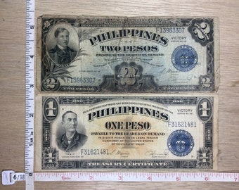 Vintage Victory Series No 66 Philippines 1 And 2 Peso F31621481 F13963307 Used
