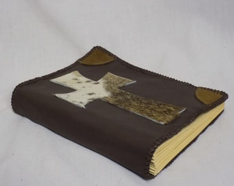 Leather Bible Cover with Large Hair-on Cowhide Cross