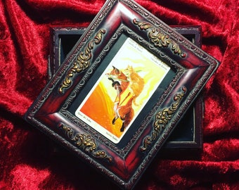 SALE Knight of Wands in small frame trinket box