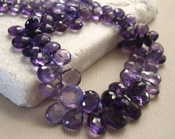 Purple Amethyst Faceted Teardrop Beads 4x6 to 5.5x9mm - Half Strand 8.5 inches