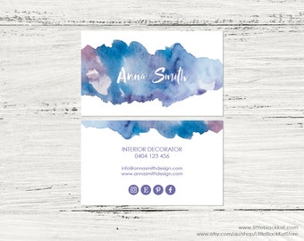 Purple Watercolour Business Card Design | Calling Card | Personalised Digital File | Watercolor business card