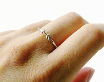 Sterling silver arrow ring, sideways arrow ring, tiny arrow jewelry silver stacking ring