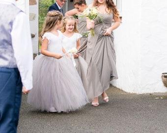 Long grey tutu skirt, flower girl tutu, tulle skirt, bridesmaid dress, baby tutu, tutu, flower girl dress, adult tutu, girls tutu skirt