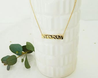 24 carat gold plated chain necklace with hammered bar