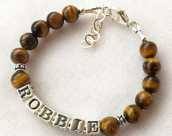 Robbie- Baby Boy Name Bracelet, Boy Baptism Bracelet, Boy Christening Bracelet, Baby Boy Bracelet, Boy Bracelet, Boy Name Bracelet