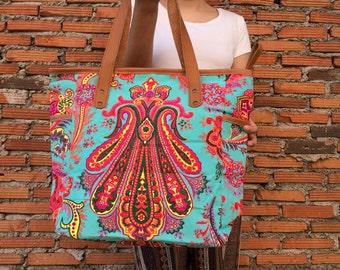 Turquise Boho Beach bag / Tote Bag / Bridesmaid Tote / fair trade / Bags / Beach tote Weekender Bag