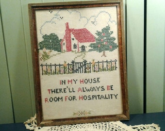 Vintage 1940's Cross Stitch Picture Saying Hand Embroidery House With Picket Fence Apple Tree Country Retro Embroidered Framed Wall Decor