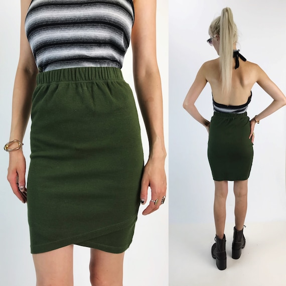 90's Avocado Green High Waist Pencil Skirt Small - Dark Green Tulip Hem Elastic Waist VTG Skirt - Bodycon Stretchy Basic Mini Skirt