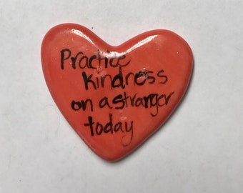 Practice Kindness special edition Ceramic  Pocket Prayer heart with cross