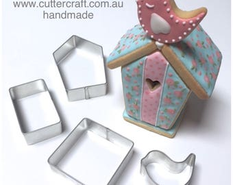 Bird house cookie cutter set 3D