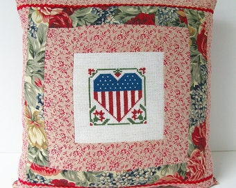 American Flag Heart Pillow Vintage Primitive Red Calico Cross Stitch Folk Art Rustic Farmhouse 4th of July Memorial Patriotic Summer Decor