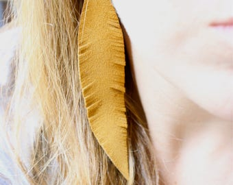 Mustard Feather Earrings, statement earrings