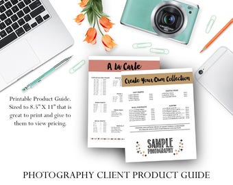 Photographer Product Print Guide / Photography Product Guide Printable - Photographer Template