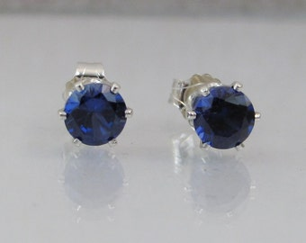 Sapphire Stud Earrings in Sterling Silver, Sapphire Gemstone, September Birthstone, Blue Sapphire Post Earrings, Lab Grown, Wedding Jewelry