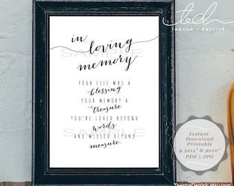 Instant download Printable In Loving Memory, Wedding Memorial Table Sign, Memory Sign, Your life was a blessing (c0308)