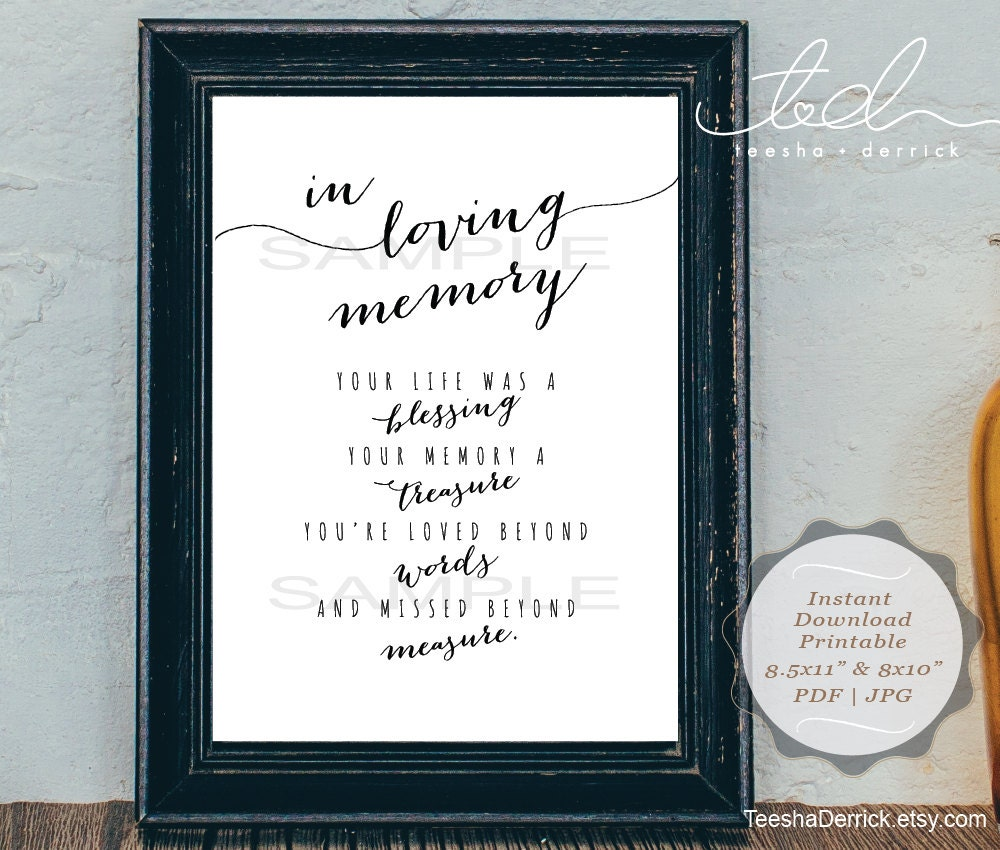 instant download printable in loving memory wedding memorial, Powerpoint templates