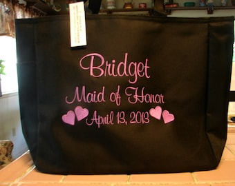 7 Personalized Tote Bag Monogram Bridesmaid Gift Wedding Teacher FRIEND SHOWER Personalized Embroidered
