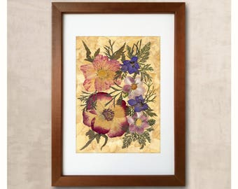 Gift For Women Art Of Dried Flowers Pressed Flower Frame Pressed Flower Art Dried Flowers Herbarium Framed Flowers Dried Flowers Art Flowers