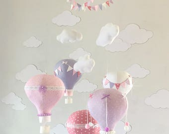 Pink and Lavender Hot Air Balloon Baby Mobile, hot air balloon decorations, hot air balloon nursery, Nursery Decor, Baby Shower Gift