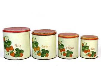 Set of 4 Vintage Tin Canisters With Strawberry Decals - Flour - Sugar - Coffee - Tea