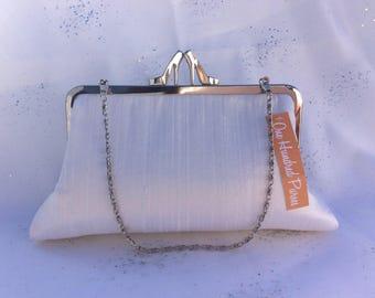 Ivory Silk Bridal Clutch Purse/Bridesmaid Clutch/Personalised Clutch Purse/Wedding Clutch