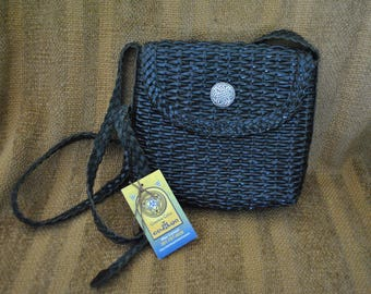 Genuine Brazilian Leather CEM Woven Crossbody, Reimagined with Custom Celtic Knotwork Concho, Black with Silver Concho