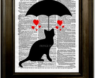 Cat Umbrella Print 8 x 10 Dictionary Page - Silhouette of Kitty Under Umbrella - Raining Love and Hearts - Whimsical Kawaii Pop Art