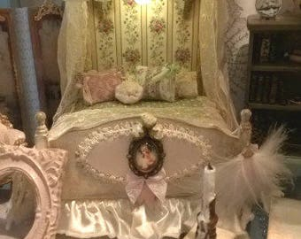 Dollhouse Half Tester bed with lighting Constance 1:12th scale THREE looks for one Payment plan available