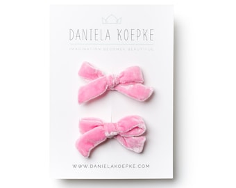 Pigtail Bows - Pink Baby Bow - Velvet Pigtail Bows  - Pink Hair Bows  - Mini Bows - Hair Clips for Girls - Fabric Hair Bows