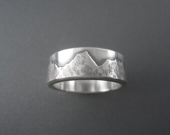 Custom Mountain Range Wedding Ring - made with your favorite mountains