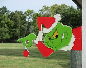 Grinch Peeker Yard Sign