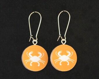 Maryland Crabs Orange/Blue Handmade Reversible Paper Earrings