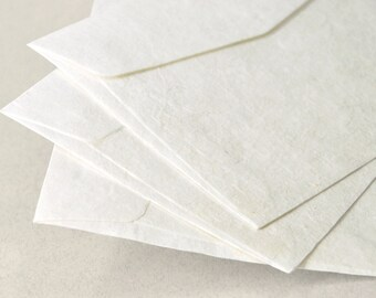 """A7 (5x7 inch) Mulberry Paper Envelopes - Off-White (Set of 10 or 20) - The actual size is 5""""x7 1/4"""""""
