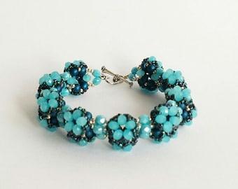 Blue beaded bracelet,victorian bracelet, handmade bracelet, beaded jewelry, beaded women's bracelet, holiday gift.